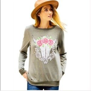 Tops - Olive Floral Skull Sweatshirt Pullover Small
